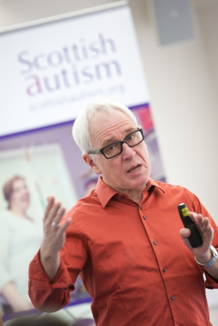 Peter Vermuelen of Autisme Centraal, Belgium, delivers his lecture, Concrete Communication, for Scottish Autism. New Struan School, Alloa. 11 Feb 2016. Copyright photograph by Tina Norris. Not to be archived and reproduced without prior permission and payment. Contact Tina on 07775 593 830 info@tinanorris.co.uk www.tinanorris.co.uk